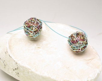 Turquoise and gold ball earrings quirky, love gift