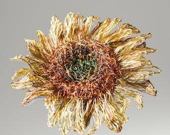Sunflower jewelry art pin, sculpture wire