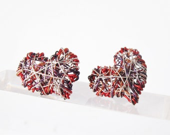 Red heart earrings stud -  modern art earrings - wire heart earring - handmade earrings designs unique