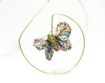 Olive green, 14k gold butterfly necklace art