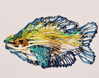 Tropical fish brooch, blue yellow, wire sculpture art, sea, ocean, unusual, modern hippie, beach jewelry, Christmas, best friend gift woman
