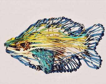 Tropical fish brooch, blue yellow, wire sculpture art, sea, ocean, unusual, modern hippie, beach jewelry, Christmas, best friend gift woman