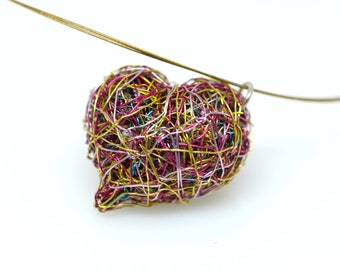 Sculpture wire art, pink gold heart necklace