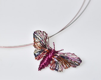 Pink butterfly necklace cute, original art, wire jewelry