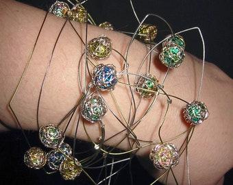 Artist jewelry, wire art beads bracelet necklace