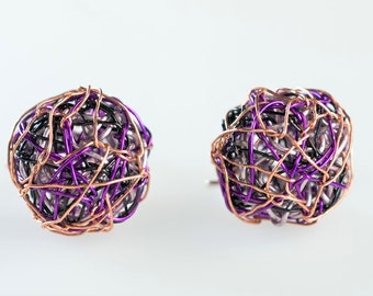 Ball earrings, purple, modern minimalist, wire, geometric, ball drop dangle earrings, art handmade jewelry, Summer, girl graduation gift