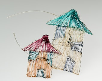 House pin House jewelry Wire house sculpture art pin Big pins Wearable art modern Rainbow home brooch Architecture gifts Whimsical jewelry