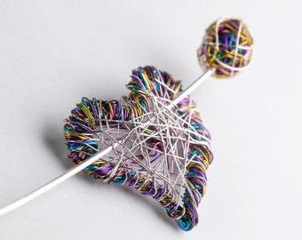 Purple heart brooch necklace, jewelry art