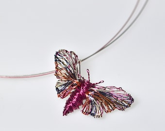 Cute Butterfly necklace, Wire sculpture art pendant, Fuchsia jewelry