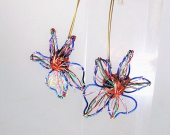 Flower earrings, orange blue flowers, wire flowers, modern earrings, long dangle earrings, art jewelry, unique birthday gifts for sister