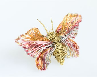 Butterfly brooch, wire butterfly jewelry, gold pink, tiny sculpture, insect art, romantic gift for her, dance teacher gift, cute pin, hippie