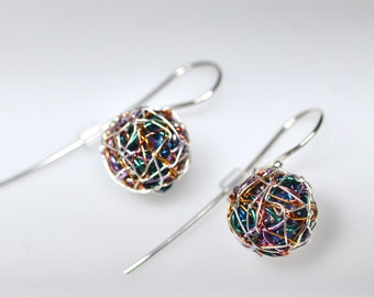 Multicolor earrings Ball earrings Sphere earrings Wire wrap Blue drop earrings Small dangle earrings Art earrings Geometric Modern minimal