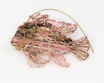 Fish brooch, wire fish sculpture, beach, nature inspired, tropical, modern boho, coral pink jewelry, Christmas, unique birthday gift for her
