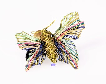 Small butterfly pin for jacket, olive green brooch, nature, unusual, modern, insect, sculpted, wire art jewelry, Summer gift for girls
