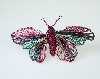 Sculpture wire art, pink turquoise butterfly pin