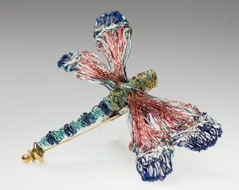 Coral blue dragonfly brooch Art insect sculpture Wire Dragonfly pin Large brooch Whimsical art pin Modern Contemporary Nature gifts for her