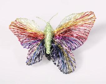 Sculpture wire art, rainbow butterfly pin