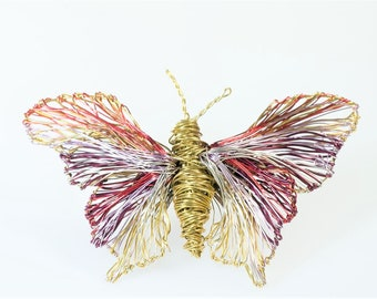 Butterfly brooch, insect, jacket pin, large brooch, purple gold, hippie, handmade, wire, modern art jewelry, Winter, unique bridesmaid gift