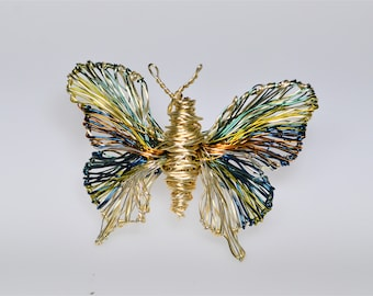 Gold butterfly brooch, cute pin, wire wrapped jewelry, green blue, Summer, unique birthday gift for women, boho chic, insect art jewelry