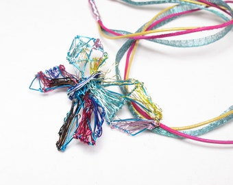 Geometric butterfly necklace - turquoise butterfly - wire art necklace