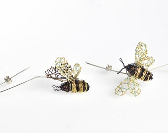 14k gold wire art, honey bee earrings