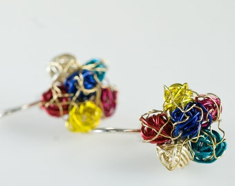 Flower earring, multicolor, colorful, cute, everyday, ear pin, long post, wire earring, hippie, Winter jewelry, unique birthday gift for her