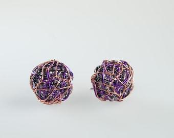 Purple sphere earrings Ball earrings Wire wrapped Art earrings Small drop earrings Short dangle earrings Modern Minimal Geometric jewelry
