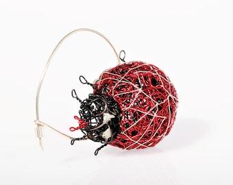 Brooch ladybug, wire art, ladybird, good luck gift