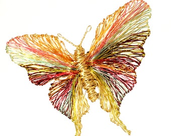 Gold butterfly brooch, Large insect brooches, Unusual modern art jewelry, Wire sculpture jewelry