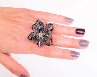 Turquoise gold flower ring, statement art jewelry