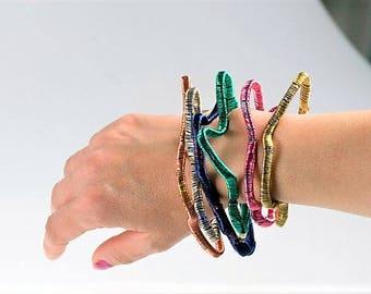Bangle bracelet, modern bracelet, adjustable bangle, wire, abstract geometric, pink bracelet, hippie art jewelry, Summer birthday gift women