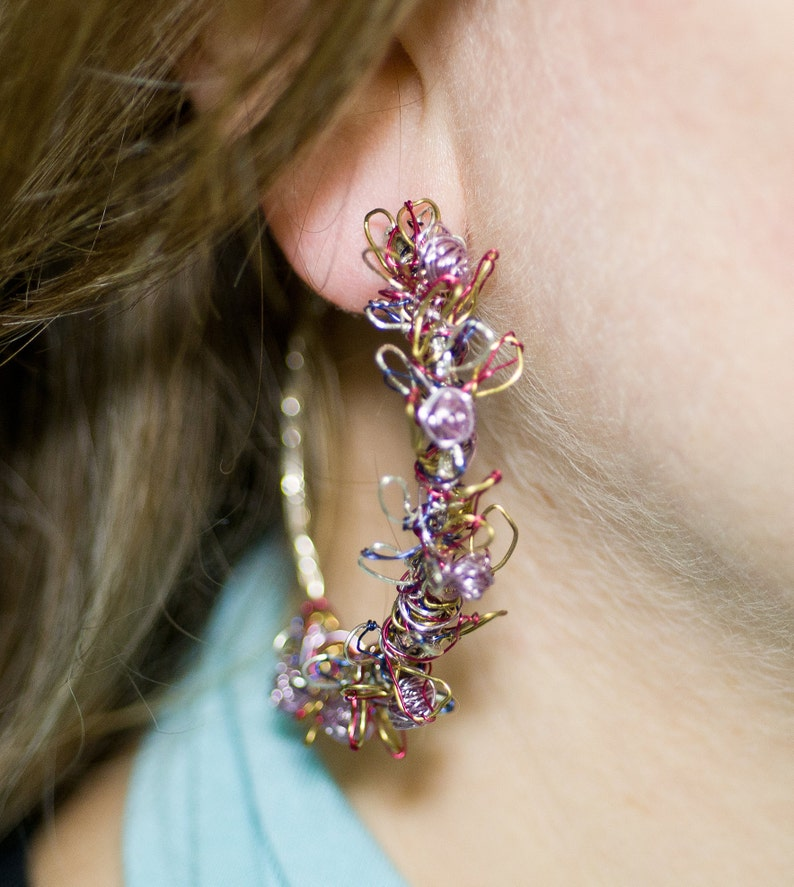 large hoop earrings violet earrings solid silver bridal jewelry anniversary gift Flower earrings wire art earrings modern earrings