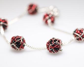 Ball bracelet, red black, silver chain bracelet, delicate, modern minimalist, wire, geometric jewelry, Summer, unique birthday gift women