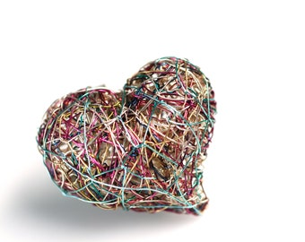 Rainbow heart ring gold, Love heart wire ring, Contemporary ring artists, Big ring sculpture