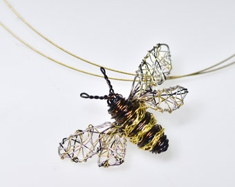 Bee art necklace pendant, Wire bee sculpture jewelry art, Unique contemporary jewelry