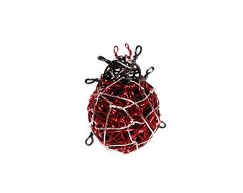 Ladybug brooch handmade, Cute bugs jewelry, Ladybird brooch art gift for girl, Wire brooch contemporary