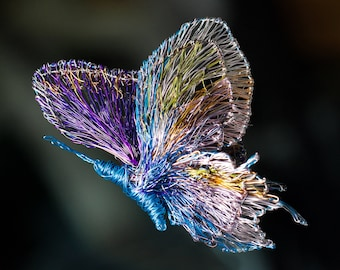 Turquoise purple Butterfly brooch, Wire sculpture jewelry, Insect wearable art, Large contemporary brooch
