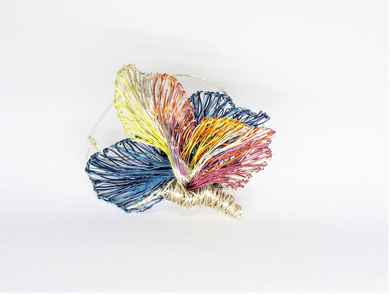 modern hippie jewelry large brooch mothers gift Summer Rainbow butterfly brooch statement blue silver insect wire sculpture art