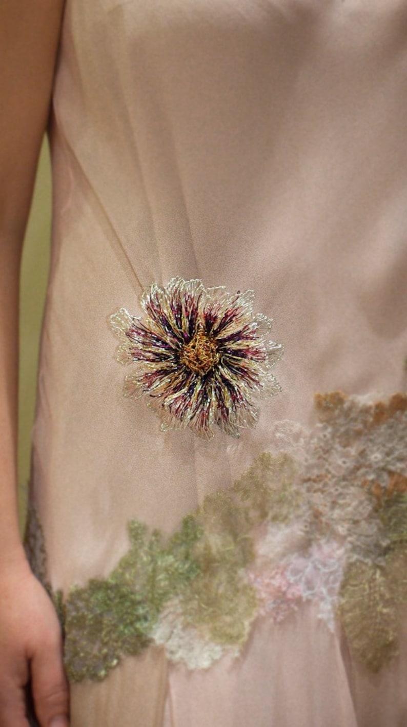 Summer ooak jewelry hippie chic Flower brooch anniversary gift her large brooch dress colorful wire flower sculpture art to wear
