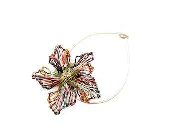 Wire artwork, abstract flower pin, modern jewelry