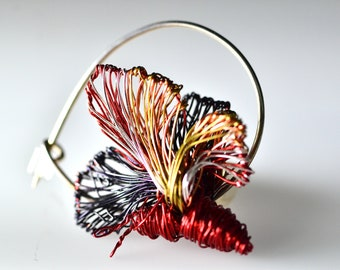 Red butterfly pin, animal sculpture art, bug pin