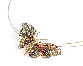 Unique Gold butterfly necklace, Wire sculpture pendant necklace, Insect contemporary art jewelry