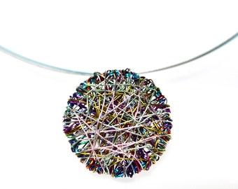 Round necklace, Contemporary wire jewelry, Modern statement art necklace, Delicate minimalist jewelry