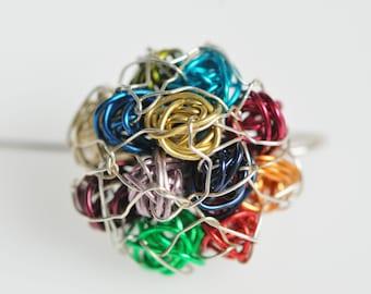Colorful flower earrings, wire art earrings