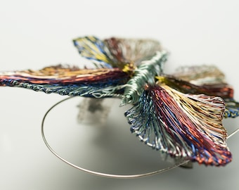 Butterfly brooch pin, Wire insect sculpture brooch, Contemporary wearable art jewelry