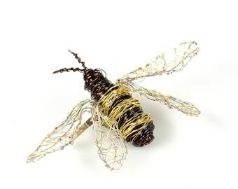 Honey bee brooch, sculpture wire art pins, bug pin
