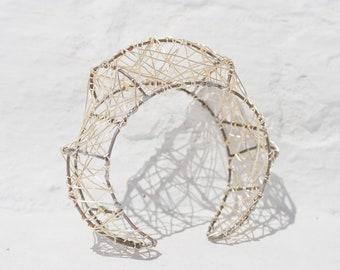 Contemporary wire art, silver cuff bracelet wrap
