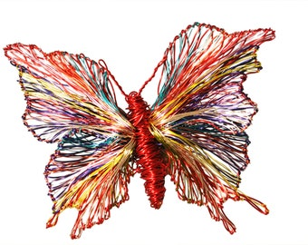 Contemporary Butterfly art jewelry, Red butterfly brooch, Large wire sculpture brooch