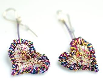 Purple dangle heart earrings, Wire heart sculpture earrings long love, Unusual contemporary art jewelry