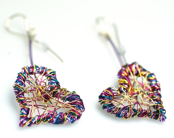 Featured listing image: Purple dangle heart earrings, Wire heart sculpture earrings long love, Unusual contemporary art jewelry